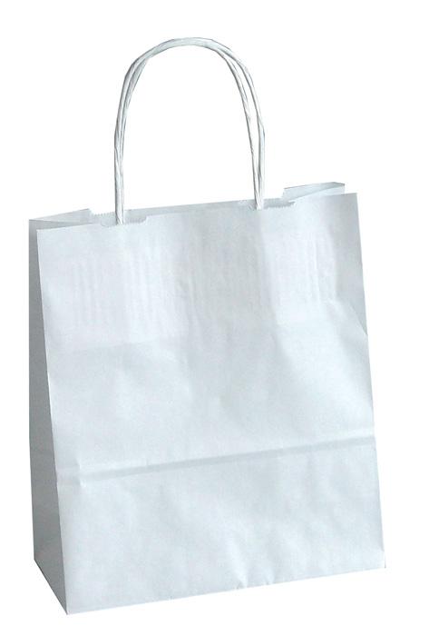 Tašky papírové kroucená ucha - bílá / 180 x 80 x 250 mm