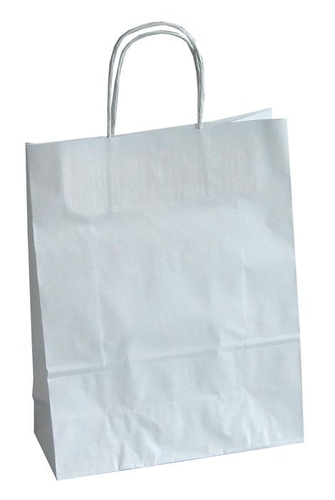 Tašky papírové kroucená ucha - bílá / 230 x 100 x 320 mm