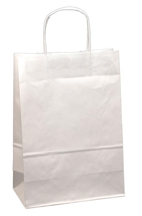 Tašky papírové kroucená ucha - bílá / 260 x 110 x 345 mm