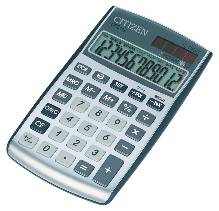 Kalkulačka Citizen CPC - 112 - displej 12 míst/ stříbrná