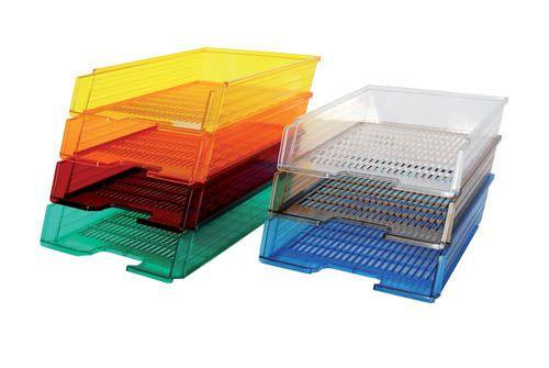 Kancelářský box na spisy Office transparentní - modrá / transparentní