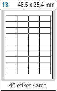 Print etikety A4 pro laserový a inkoustový tisk - 48,5 x 25,4 mm (40 etiket / arch)