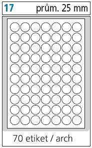 Print etikety A4 pro laserový a inkoustový tisk - kulaté průměr 25 mm ( 70 etiket / arch)