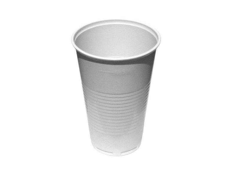 Kelímky plastové - bílé / 5 dcl / 50 ks