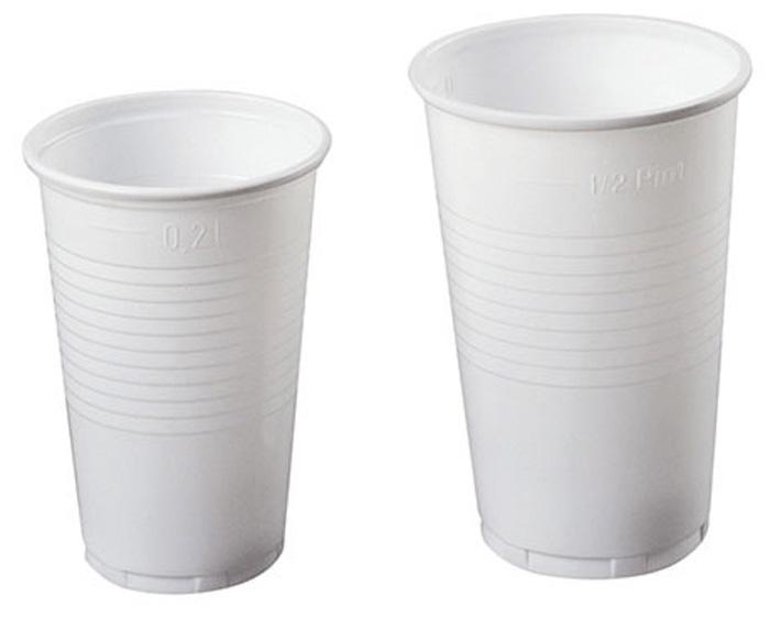 Kelímky plastové - bílé / 2 dcl / 100 ks