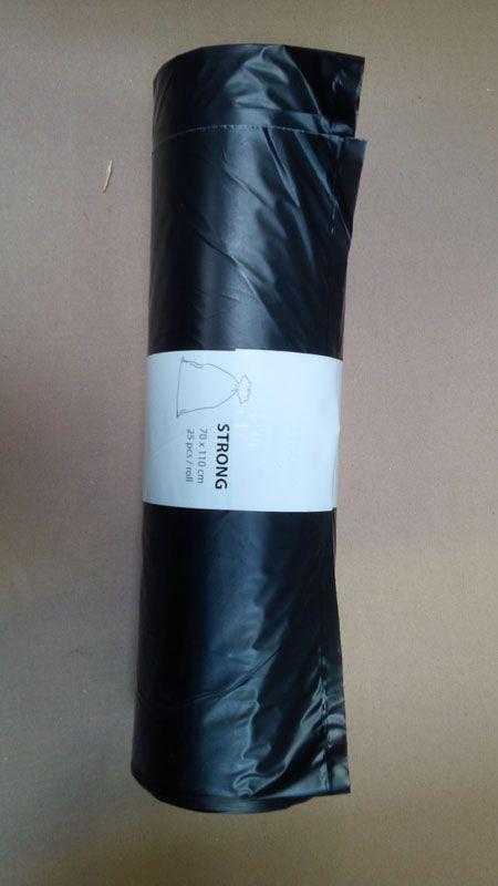 Pytle na odpad barevné - černé / 70 x 110 cm / 120 l / 23 my / 25 ks