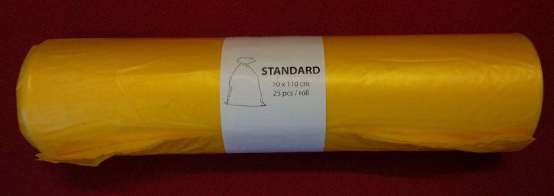 Pytle na odpad barevné - žluté / 70 x 110 cm / 120 l / 17 my / 25 ks