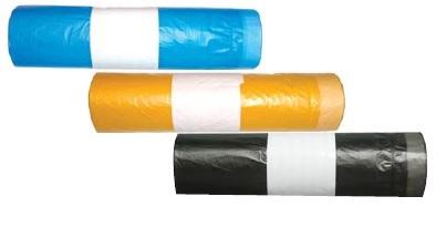 Pytle na odpad barevné se zatahovací páskou - žluté / 70 x 100 cm / 120 l / 20 ks