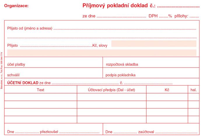 Příjmový pokladní doklad i pro podvojné účetnictví - A6 / nečíslovaný 50 listů / ET030