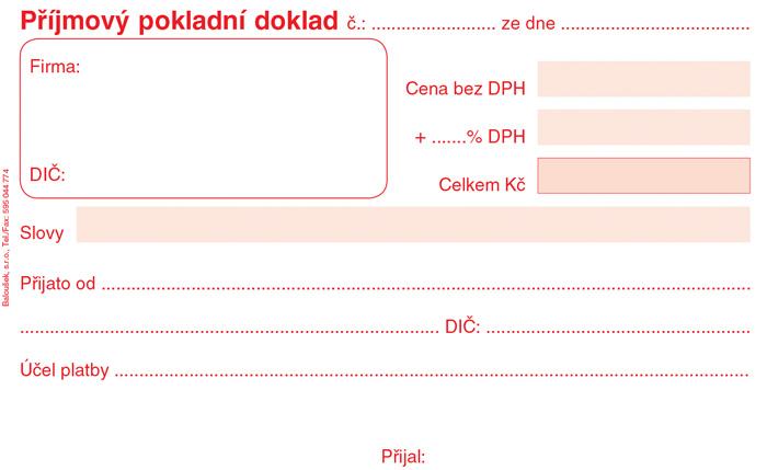 Příjmový pokladní doklad - A6 / nečíslovaný 50 listů / NCR / PT020