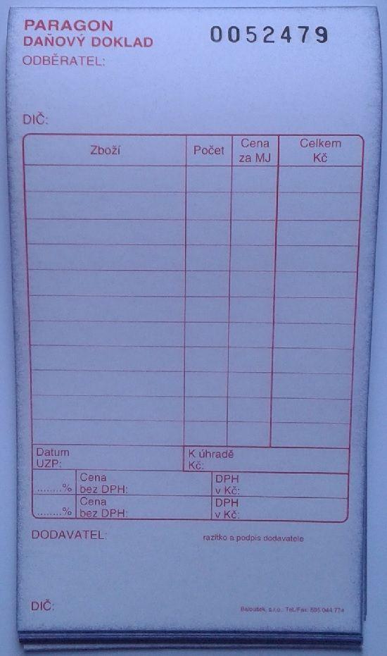 Paragon daňový doklad - blok 80 x 150 mm / číslovaný 50 listů / NCR / PT012