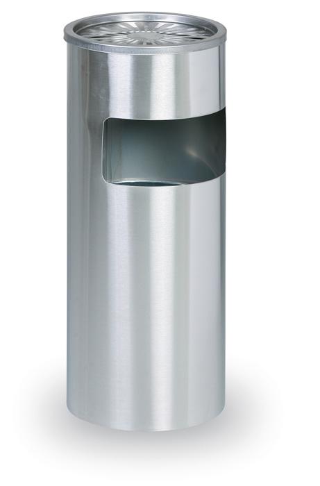 Odpadkový koš nerezový s popelníkem - nerez / průměr 25 cm