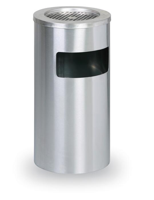 Odpadkový koš nerezový s popelníkem - nerez / průměr 30,5 cm