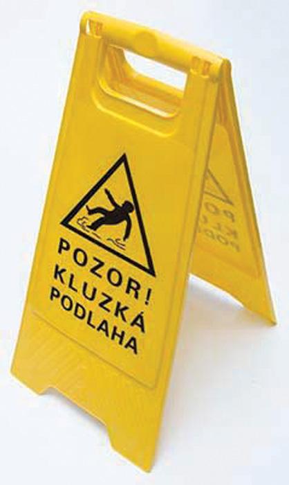 Výstražná cedule - 68 x 30 cm / POZOR KLUZKÁ PODLAHA