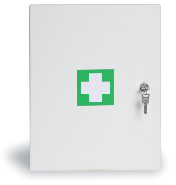 Lékárnička kovová nástěnná - bílá / 45 x 35 x 15 cm / prázdná