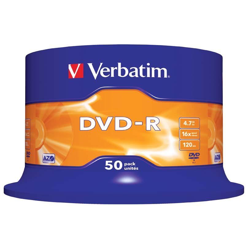 CD / DVD Verbatim - DVD-R / bez krabiček / spindl / 50 ks