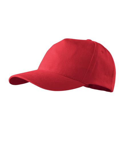 Čepice s kšiltem unisex 5P červená