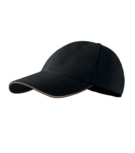 Čepice s kšiltem unisex SANDWICH 6P černá