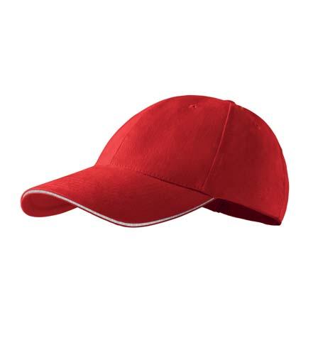 Čepice s kšiltem unisex SANDWICH 6P červená
