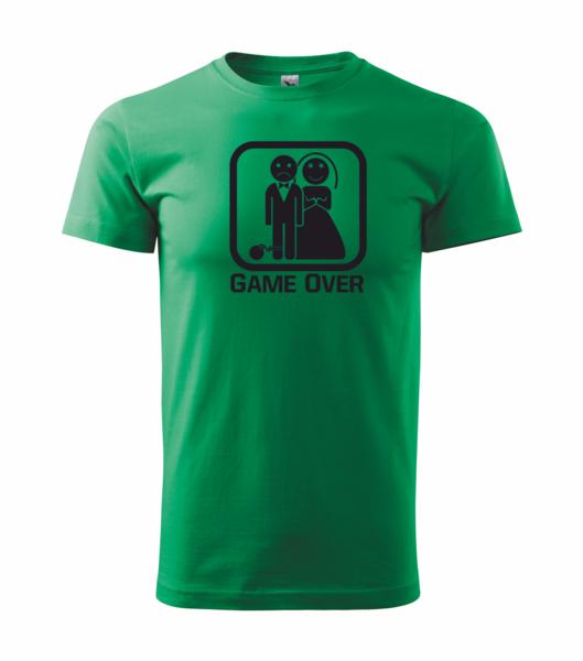Tričko GAME OVER středně zelená XL