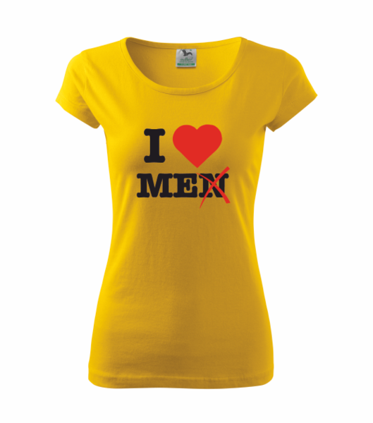 Tričko I love me XS žlutá