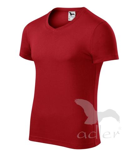 Tričko pánské SLIM FIT V-NECK XXL červená