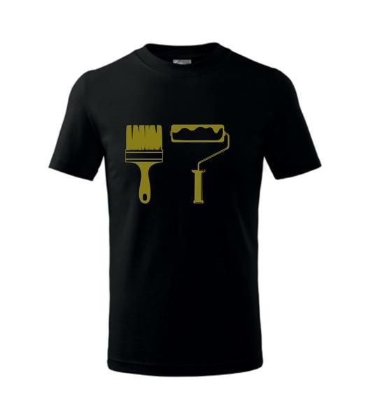 dětské tričko Štětec a váleček černá 134