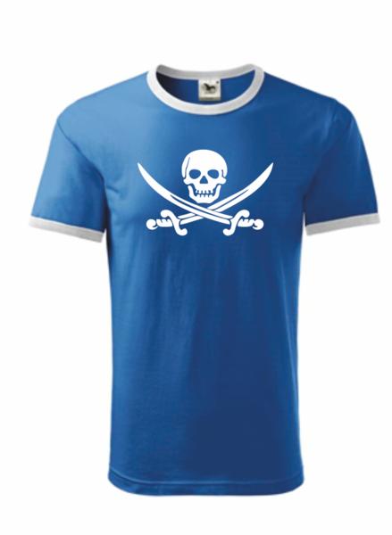 Pirátské dětské tričko azurově modrá 134