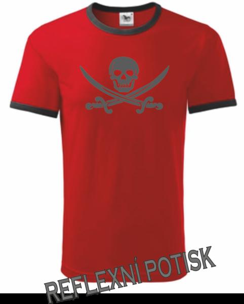 Pirátské dětské tričko červená 134