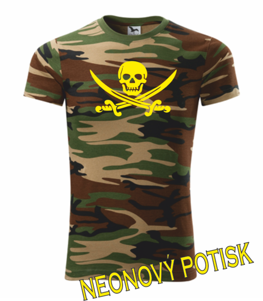 Pirátské dětské tričko camouflage green 110