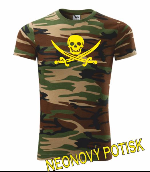 Pirátské dětské tričko camouflage green 134