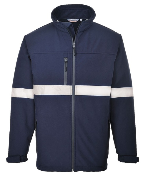 Softshelová bunda s reflex pruhy L námořní modrá
