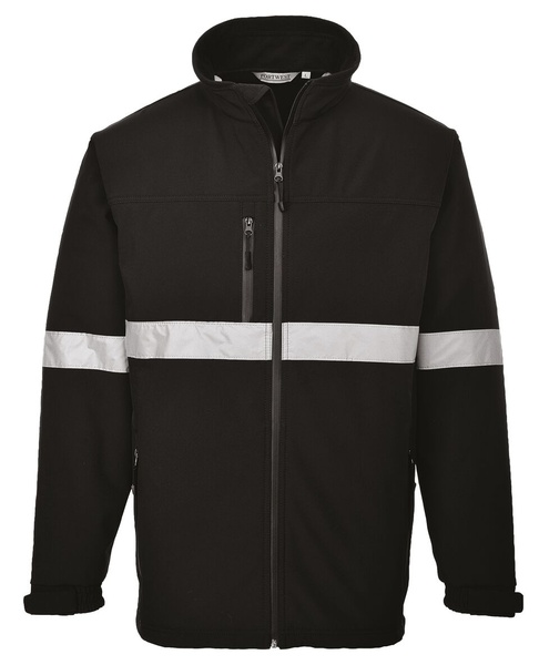Softshelová bunda s reflex pruhy XXXL černá