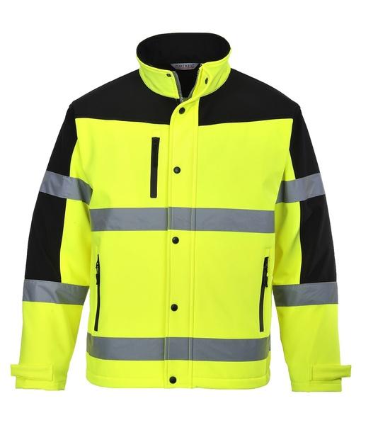 Dvoubarevná softshelová bunda XXL neon yellow