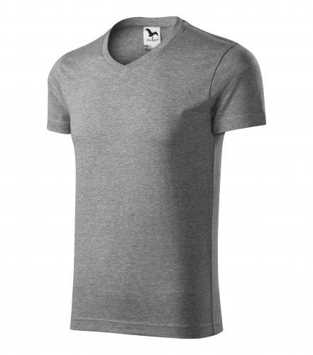 Tričko pánské SLIM FIT V-NECK XXXL tmavě šedý melír