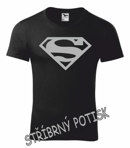 Tričko SUPERMAN XL STŘÍBRNÁ