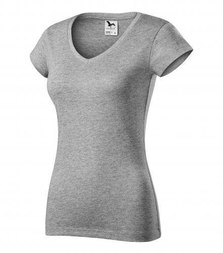 FIT V-NECK tričko dámské L tmavě šedý melír