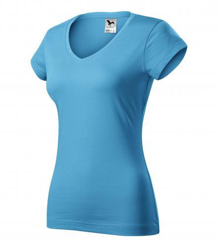 FIT V-NECK tričko dámské XXL tyrkysová