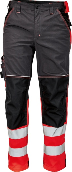Pracovní kalhoty s reflexními pruhy 58 červená