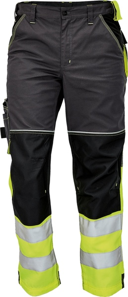 Pracovní kalhoty s reflexními pruhy 54 žlutá
