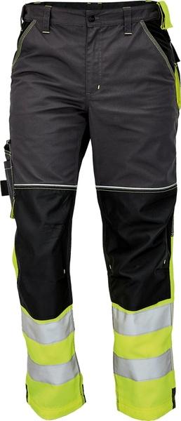 Pracovní kalhoty s reflexními pruhy 56 žlutá