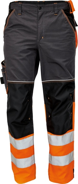 Pracovní kalhoty s reflexními pruhy 46 oranžová