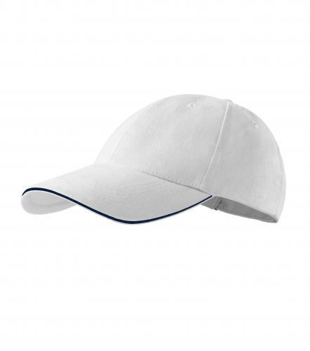 Čepice s kšiltem unisex SANDWICH 6P bílá