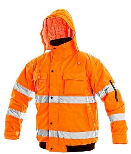 Bunda LEEDS, výstražná, oranžová XL
